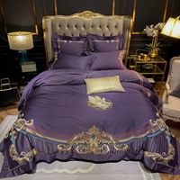Juego de ropa de cama de color púrpura bordado Premium juego de edredón de algodón egipcio real europeo juego de cama de satén tamaño Queen King 4/ 6 piezas