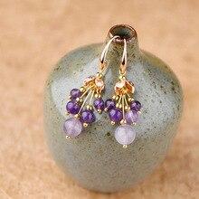 Дизайн ювелирных изделий высокого класса элегантные серьги с фиолетовым кристаллом для женщин Винтажная Капля воды Серьги Свадебная вечеринка Мода