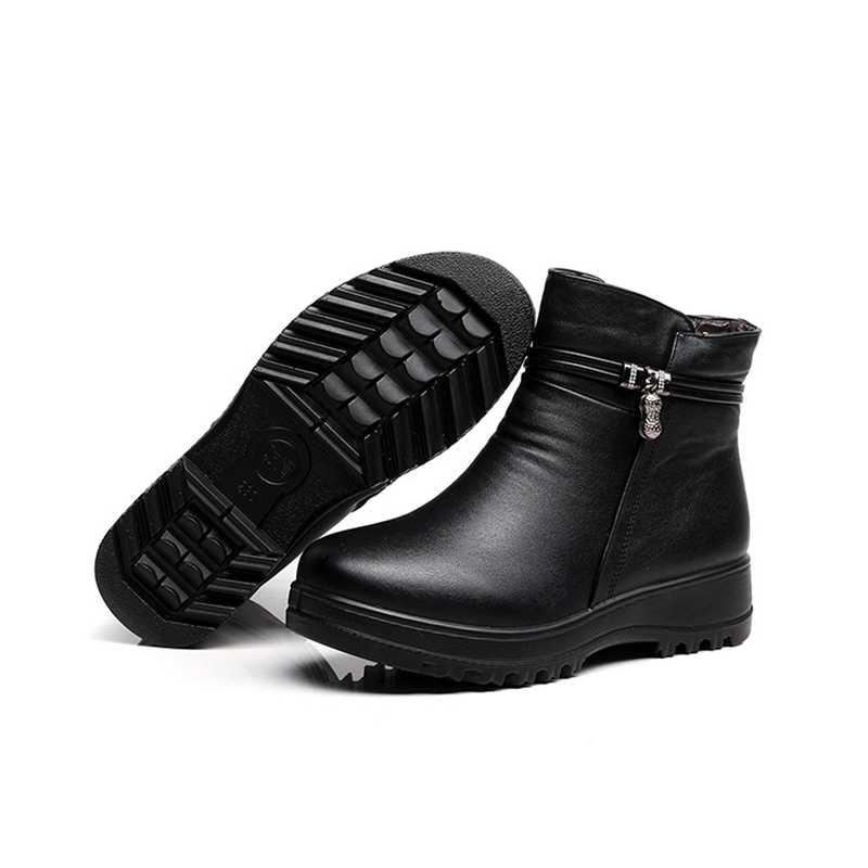 ZZPOHE 2017 Moda Kış Ayakkabı kadın hakiki deri ayak bileği düz çizmeler Rahat Rahat Sıcak Kadın Kar Botları ücretsiz kargo