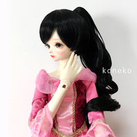 Allaosify BJD doll wig 1/3 1/4 SD oblique bangs tiger mouth clip ponytail long curly black hair