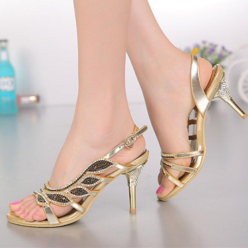 Sandalo Da Tacco Scarpe 8 Strass A Di Sposa Cm Signore Blu CnqAtw84nx