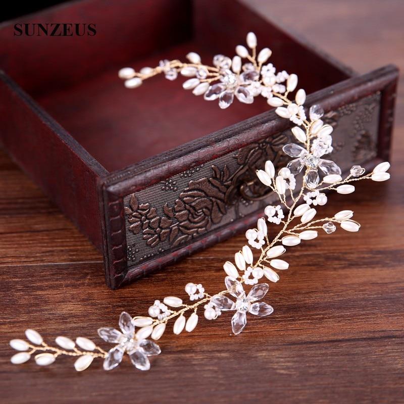 White Pearls Gold Headband Hand-made Bridal Hair Sash Wedding Party Head Accessories SQ0159