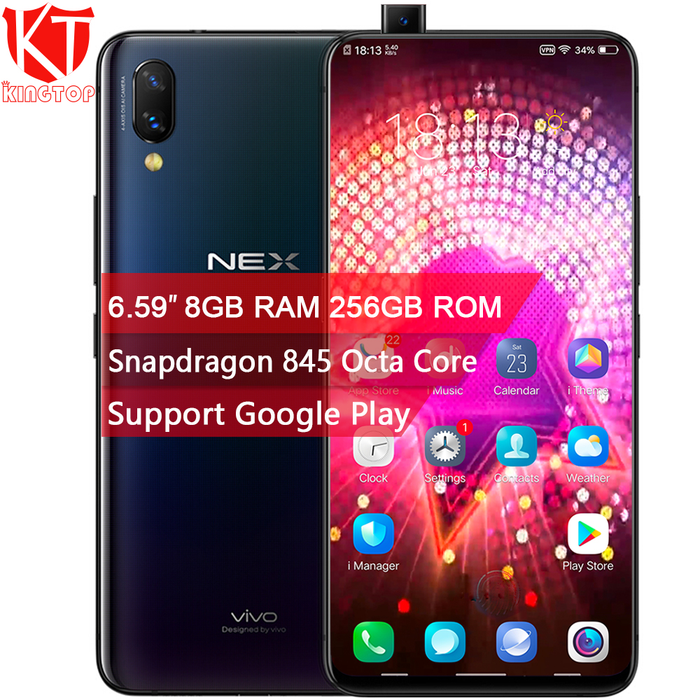 D'origine VIVO NEX Mobile Téléphone 8 gb RAM 256 gb ROM Écran D'empreintes Digitales 6.59 ''Plein Écran Snapdragon845 Octa Core double Caméra Téléphone