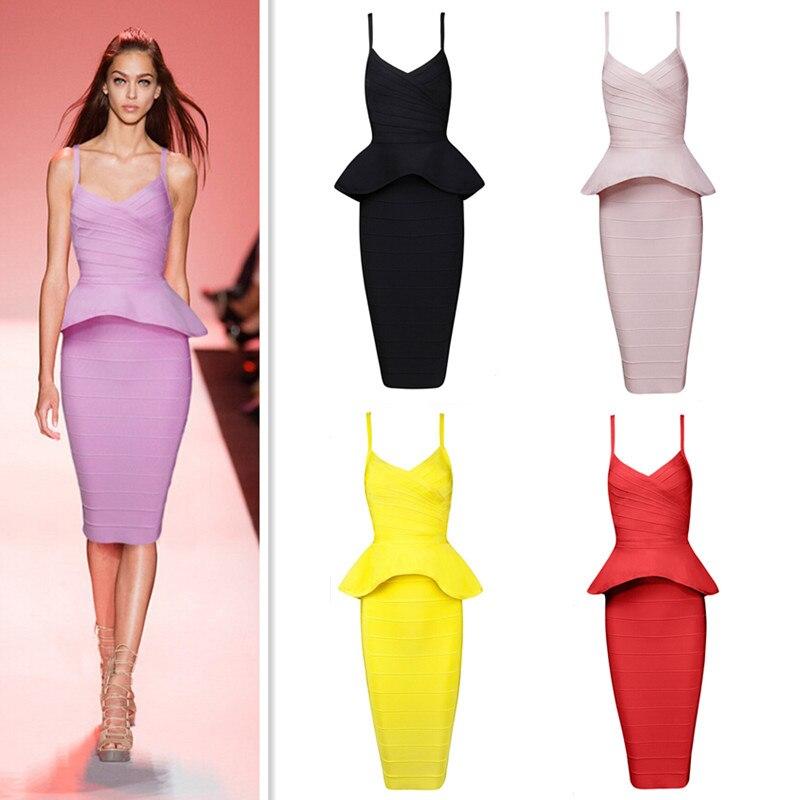Haute qualité Sexy sangle genou longueur volants 2 pièce Bandage robe 2015 dames tricoté élégant HL rayonne Bandage robe