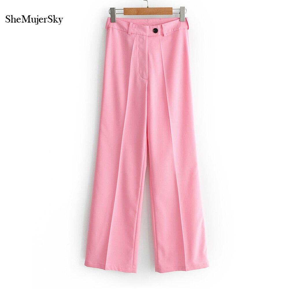 SheMujerSky Pink Trousers Women Wide Leg Pants 2019 Fashion High Waist Pants pantalon taille haute femme