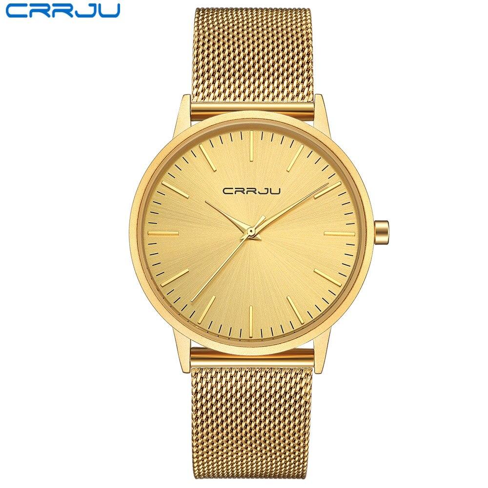 Crrju oro ultra delgado Relojes de cuarzo hombres Top marca de lujo de pulsera reloj relojes de oro Relogio masculino reloj de cuarzo