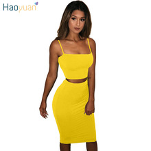 HAOYUAN Two Piece Sexy Dress Women Clothes Black White Red Yellow Summer Bodycon Sundress Robe Spaghetti Strap Party Dresses