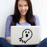Cute Cartoon Ghost Vinyl Laptop Sticker Home Decor Removable Halloween Decorative Wall Decal