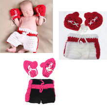 Boxing Man Baby Photo Props Handmade Knitted Infant Baby Gloves+Shorts Set Newborns Photography Props bebek dropshipping