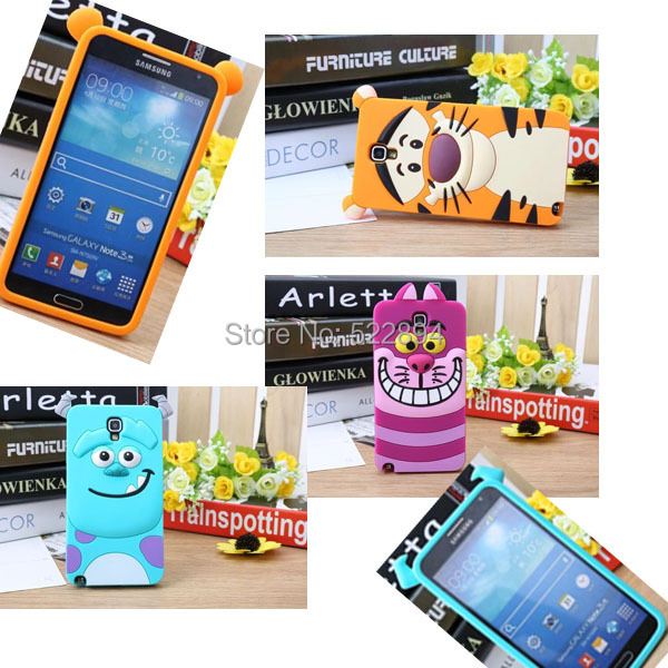 3D Cartoon Animal Sulley Yellow Tiger Cat Soft Silicone Back Cover Case Samsung Galaxy Note 3 III Neo Lite N7505 7505 - Wynn yi's store