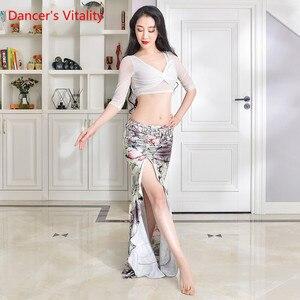 Image 4 - New Practice Belly Dance Costume Milk Silk flower elegant Long Skirts