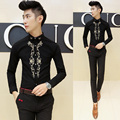 Spring new men's long-sleeved shirt embroidered personality tide male personality Slim casual shirt men's fashion