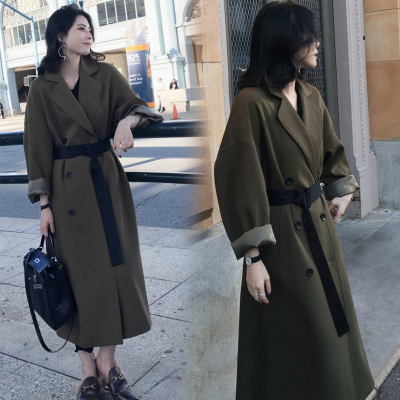 2019 Women Armygreen Belt Pocket Windbreaker Spring Autumn Fashion New Female Korean Clothes Loose   Trench   Coat N806