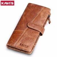 KAVIS 2017 New Designer Men Leather Wallets Casual Male Wallet Clutch Bag Brand Long Wallet Genuine