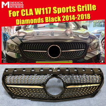 Fits For MercedesMB W117 Grills Diamonds Grille CLA-Class CLA200 CLA250 CLA45 look ABS Gloss Black Without Sign 2014-2018