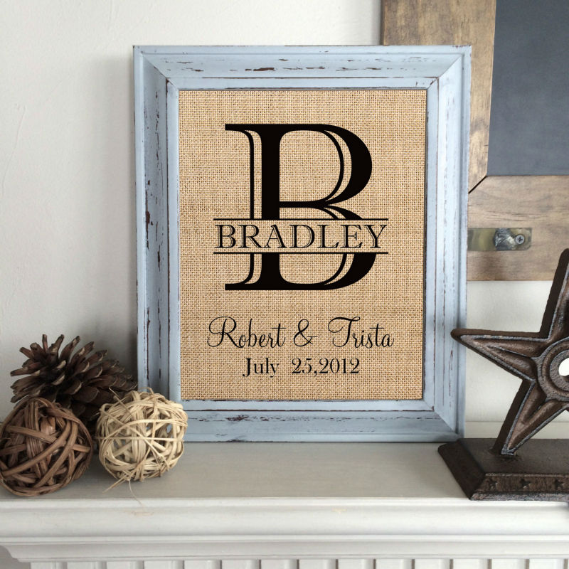 Wedding Date Gift: Personalized Wedding Gift,Burlap Print,Burlap Last Name