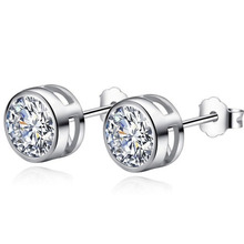 Crystal From Swarovski Zirconia Round Earring Rhinestone bijoux Sliver Color Earrings Stud For Women Fashion Jewelry brincos(China)