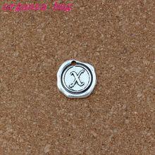 100pcs Single side Letter X Alphabet Initial alloy Charms Pendant Antique Silver Pendants Fashion DIY Accessories 18x18.5mm
