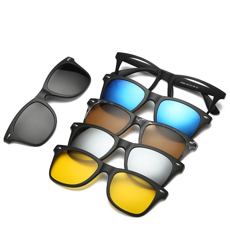 Cubojue 5 Lens Clip on Magnetic Sunglasses Men Women Customize Myopia/diopter Glasses 1.56 1.61 1.67 Index Lens Progressive