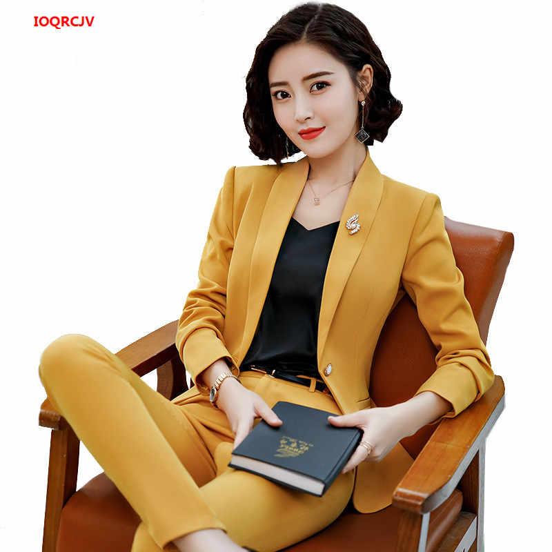ファッションエレガントな女性のパンツスーツ 2 枚セット長袖ブレザーと正式なズボンオフィスレディース作業服のビジネススーツ 903