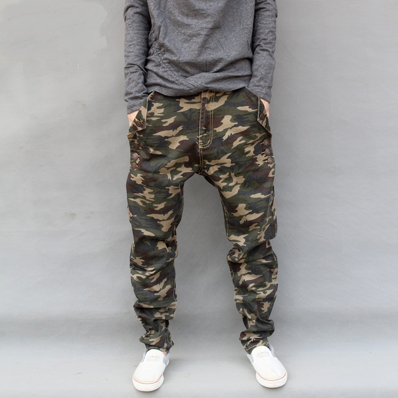 Plus size 7XL Military Camouflage Harem Jeans Fashion Camo Low Drop Crotch denim pants Men elastic Personality Pants 071906 ...