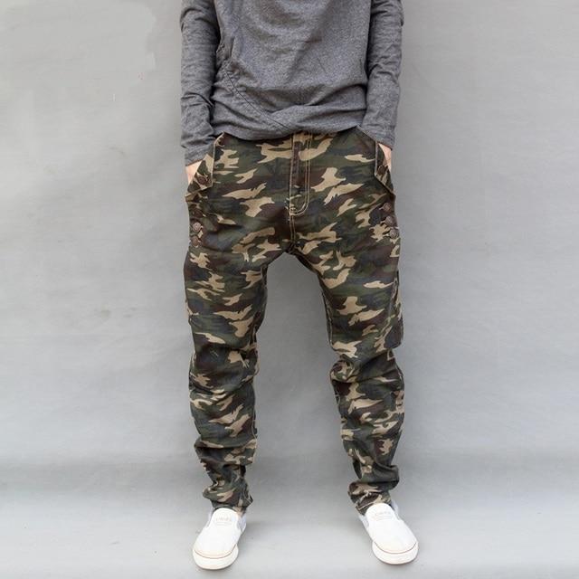 US $32.9 30% di SCONTO Plus size 7XL Mimetico Militare Harem Dei Jeans di Moda Camo Basso Goccia Cavallo denim Pantaloni dei pantaloni Degli Uomini di