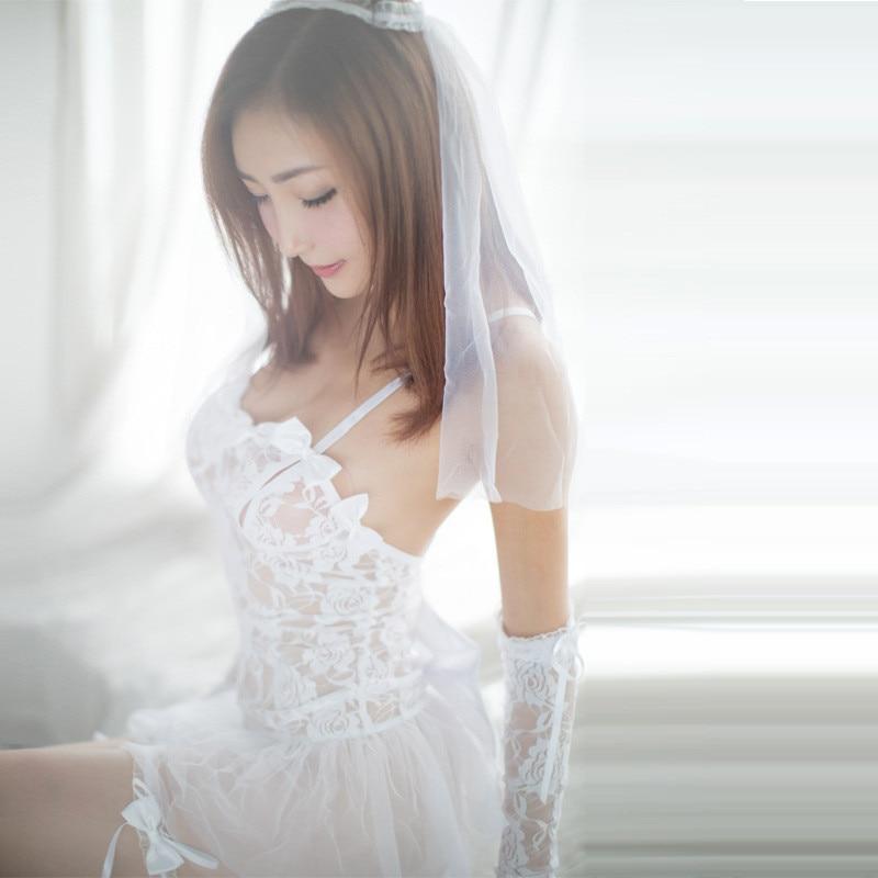 Porn Erotic Lingerie For Women Cosplay White Bride Wedding -9068