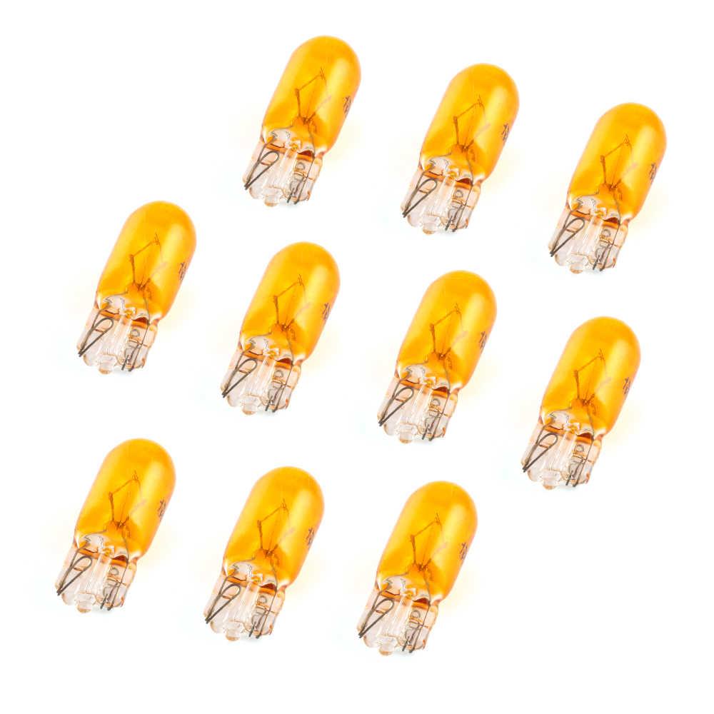 10 قطعة t10 w5w وقوف السيارات أضواء الأصفر ضوء T10 مصباح هالوجين للسيارات 194 501 الجانب أسافين سيارة ضوء مصدر أداة مصباح