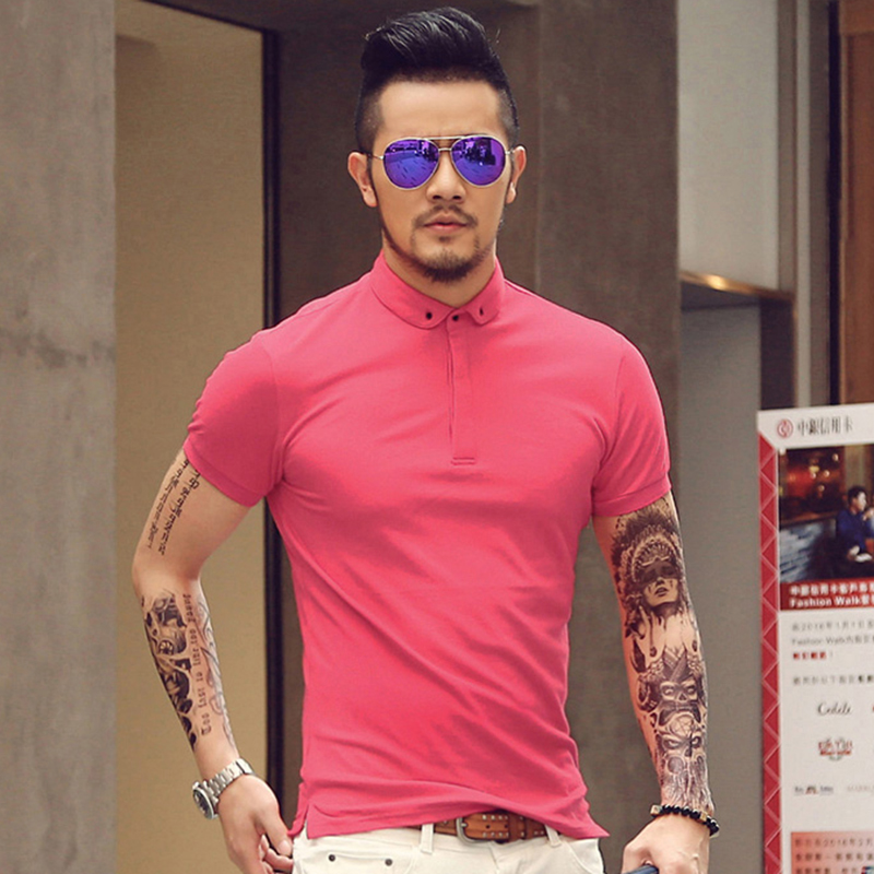 2017 New Men Mandarin Collar Short Sleeve Cotton Casual   Polo   Shirt Men Fashion Summer Breathable   Polos   Mens Designer   Polo   Shirts