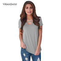 YIRANSHINI New Summer 2018 Fashion Short Sleeve O Round Neck Gray Solid Printed Hollow Out Lady