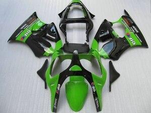 Набор пластиковых обтекателей для Kawasaki, набор обтекателей для литья под давлением ZX 6R 2000 2001 2002, Зеленый Черный боди ZX6R 00 01 02 AA51