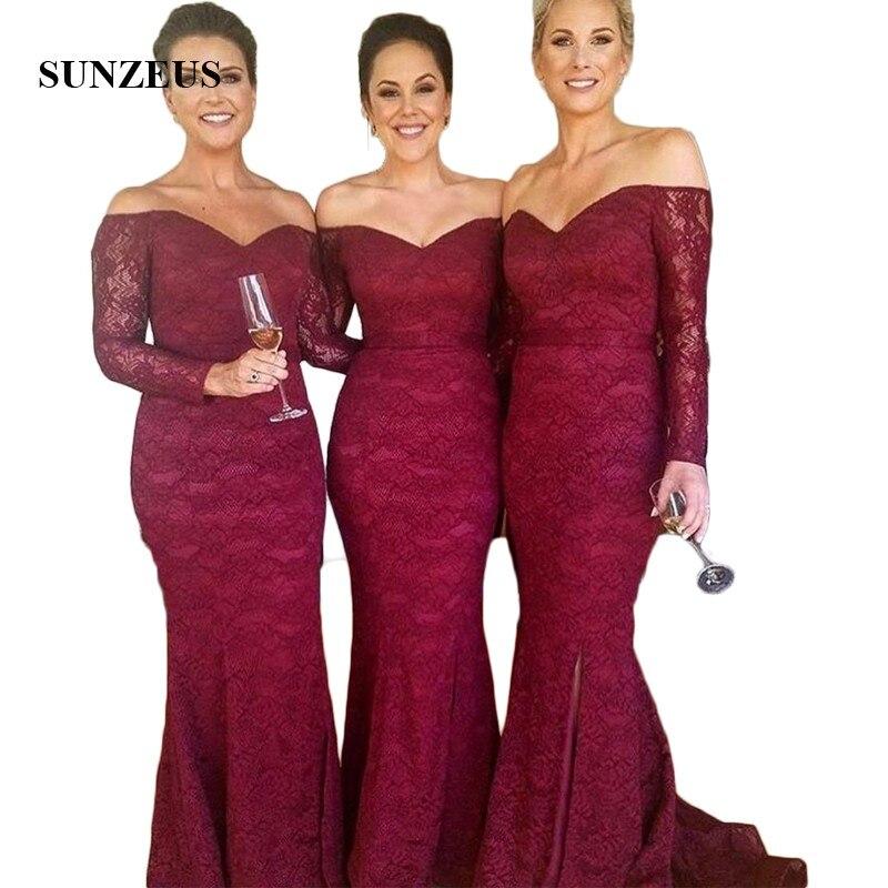 Burgundy Lace Mermaid Long Sleeve Bridesmaid Dresses 2018 Sweetheart