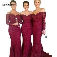 Burgundy Lace Mermaid Long Sleeve Bridesmaid Dresses 2018 Sweetheart Formal Dresses Long Leg Slit Wedding Party Dresses SBD61