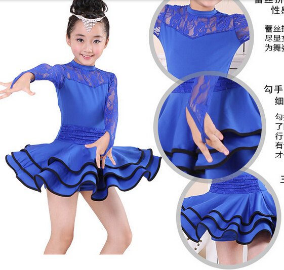 free shipping  Stage red skyblue lace rumba latin dance dress tango samba competition 110-160cm professional girl child costume