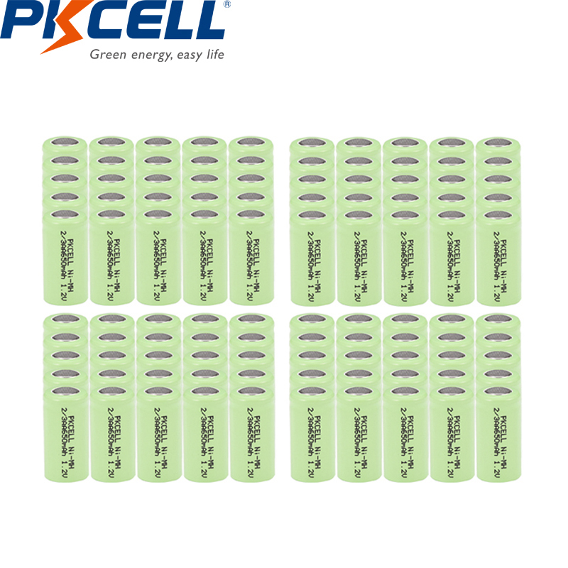100Pcs Pkcell 2/3aa 650mah battery aa NIMH Rechargeable 1.2v flat top For grass cutte solar lawn lamp solar street lamp