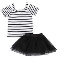Toddler Infant Child Baby Kids Girl Dress Vest Stiped Tops T Shirt Skirt Outfit Set Casual Sweet Clothes 2-7T