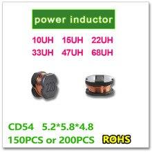 SMD CD54 Poder 150 PCS 200 PCS 10UH 15UH 22UH 33UH 47UH 68UH 100 150 220 330 470 680 5.2*5.8*4.8