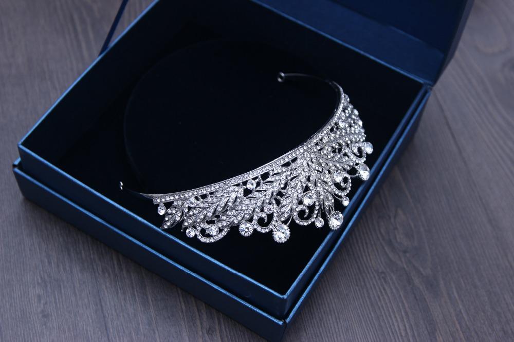 Silver Clear Crystal Rhinestones Crown Tiara Hairwear Brides
