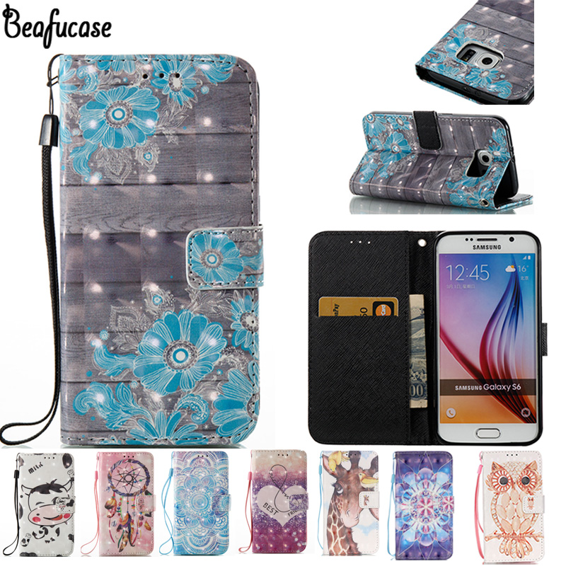 For Case Samsung Galaxy S6 Wallet Case PU Leather Magnetic Silicone Phone Case For Samsung Galaxy S 6 Flip Case 3D Painted Owl ...