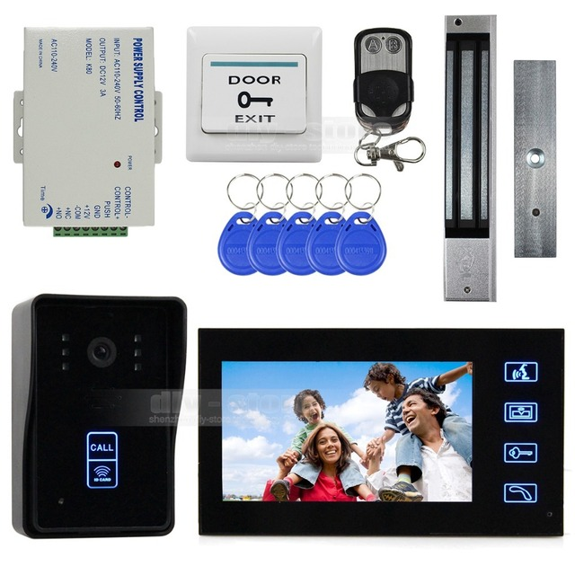 DIYSECUR Remote Control 7 Inch Monitor Touch Video Door Phone Intercom Doorbell Home Security IR Camera Magnetic Lock