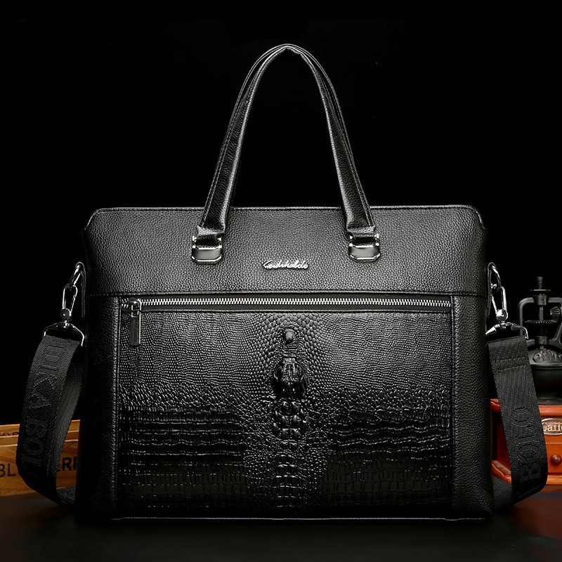 Male Man Handbag Cross Section Single Shoulder Satchel Document A Leather Messenger Bag Luxury Brand Men Pu Package Briefcase