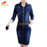 New 2018 Spring Denim Dress Women Turn down Collar Pockets Jeans Dresses Long Sleeve With Belt Midi Dress Pencil Women Clothing