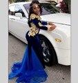 Mangas compridas Sereia Vestidos de Noite Azul Royal Velvet Robe De Soiree Boat Neck Vestido de Apliques de Renda Trem Da Varredura Formal Africano