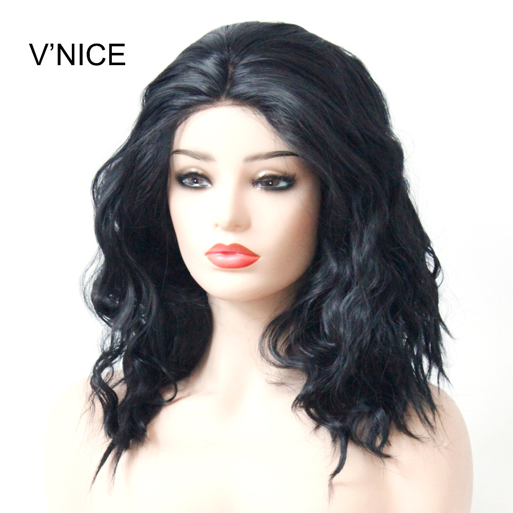 VNICE Short Wavy Hair Synthetic Lace Wigs with Baby Hair Black bob Wig Lob Hair Synthetic Lace Front Wigs Heat Resistant Fiber
