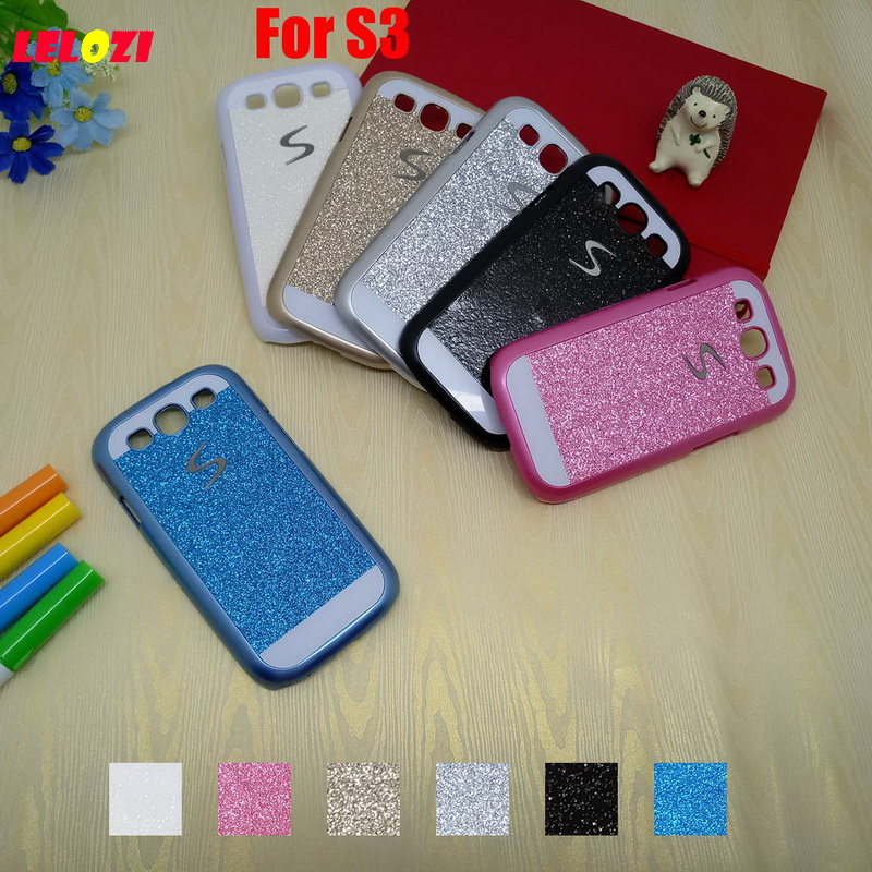 LELOZI Bling Shinning Glitter Hard PC Lady Capinha Etui Case Cover Shell For Samsung Galaxy S3 I9300 S 3 Deluxe New Blue Black