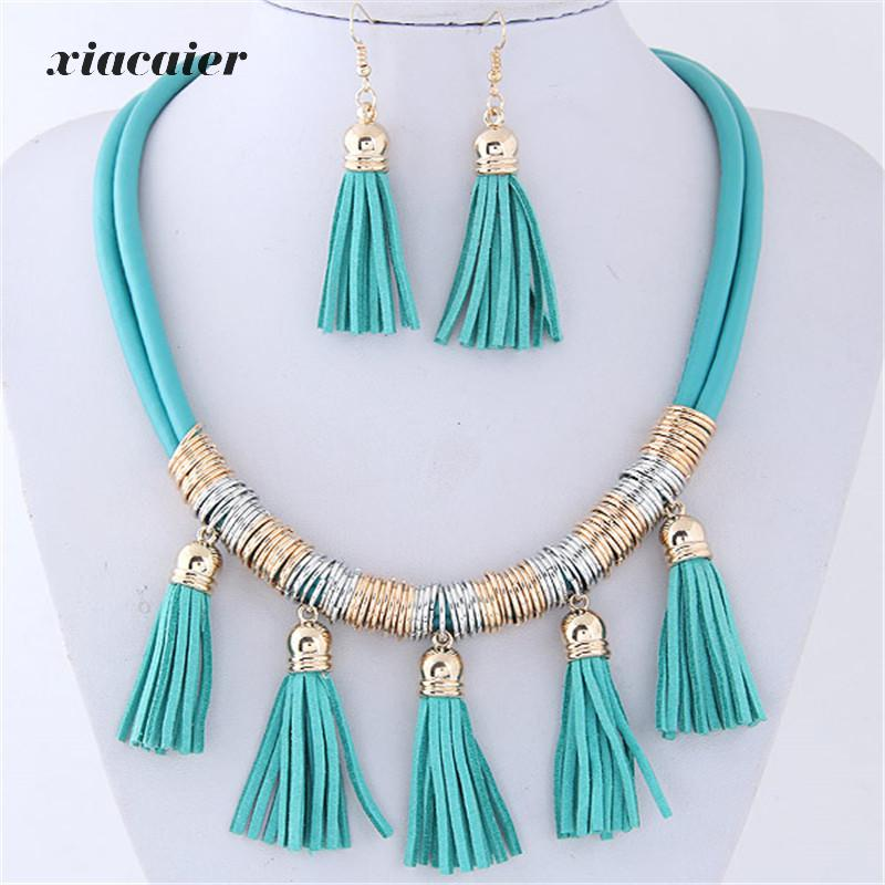 Xiacaier Bohemia Jewelry Sets For Women Alloy Leather Tassel Choker Necklace/earrings Statement Jewelry Sets Boho Jewellery ...