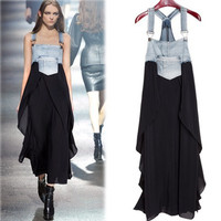 Women Summer Braces Dress Denim Chiffon Patchwork Maxi Dress Asymmetrical Bottom High Waist Loose Casual Beach