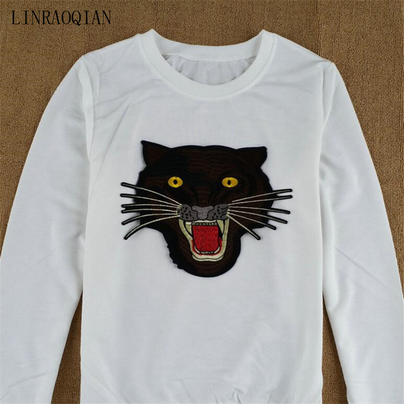 LINRAOQIAN Autumn Long Sleeve T Shirt Women Fashion Embroidery Tiger Head Tshirt  Women Cotton Tops Female Shirts Camisetas Mujer-in T-Shirts from Women s ... c8080b2f5a17