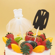 1 Pair Bride and Groom Wedding Cake Toppers Creative Paper Wedding Dress Cupcake Topper Party Baking Decoration Supplies цена и фото