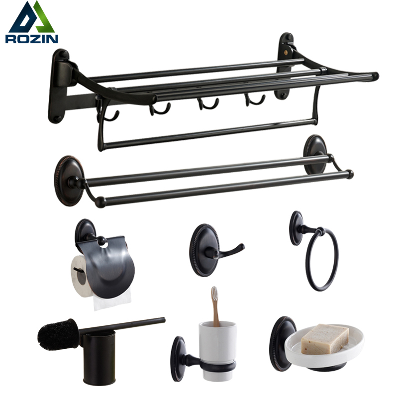 Stainless Steel Black Bathroom Accessories Wall Mounted Bath Hardware Sets Towel ring,Soap dish,Robe hook,Paper Holder,Towel Bar polished chrome towel ring vintage decor wall mounted 304 stainless steel and copper bathroom hardware accessories high grade